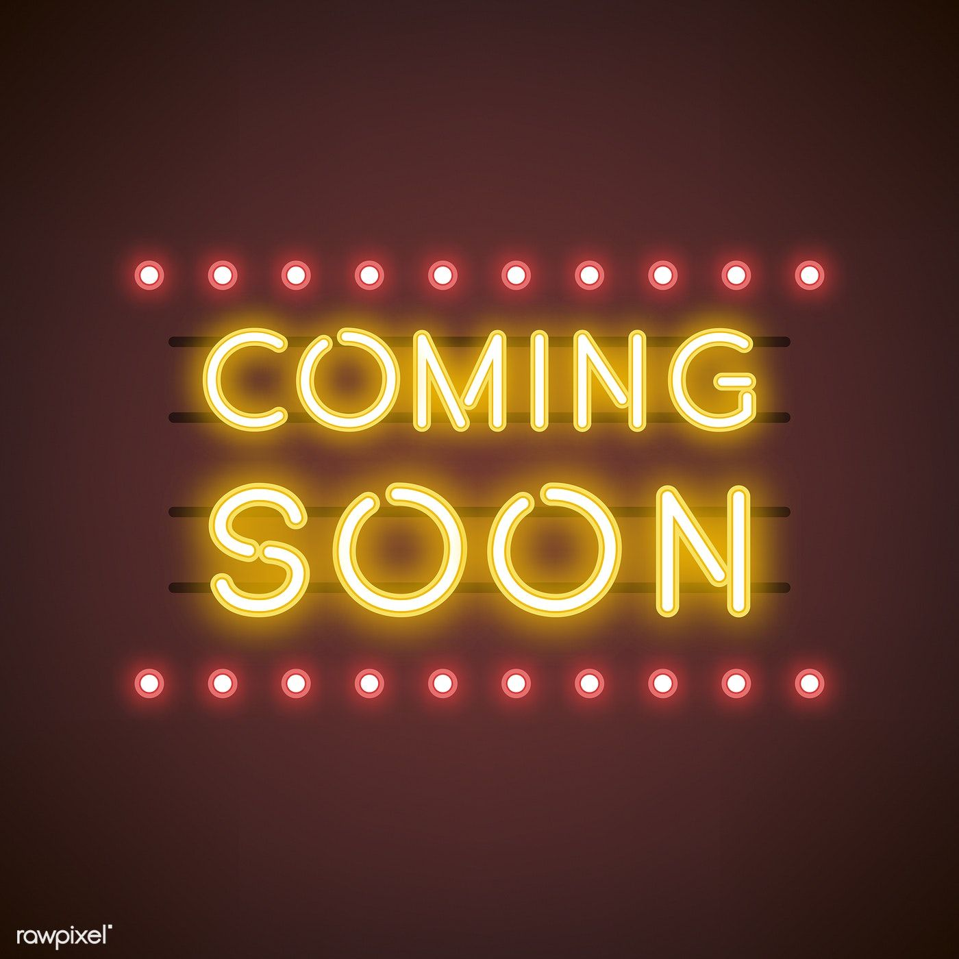 Yellow coming soon neon sign vector free image by