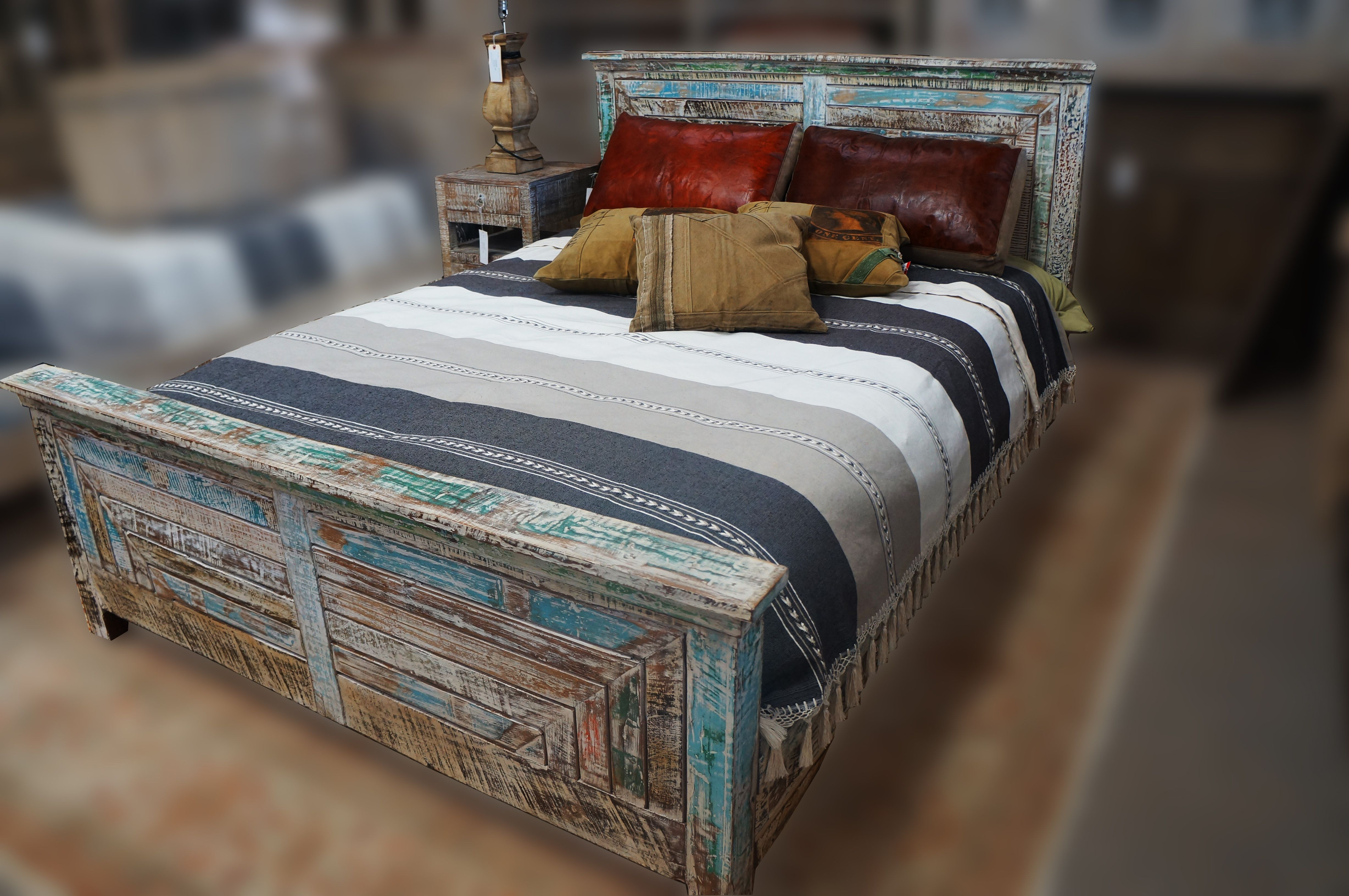 Multi Color Bed Frame Hand Made & Painted In India