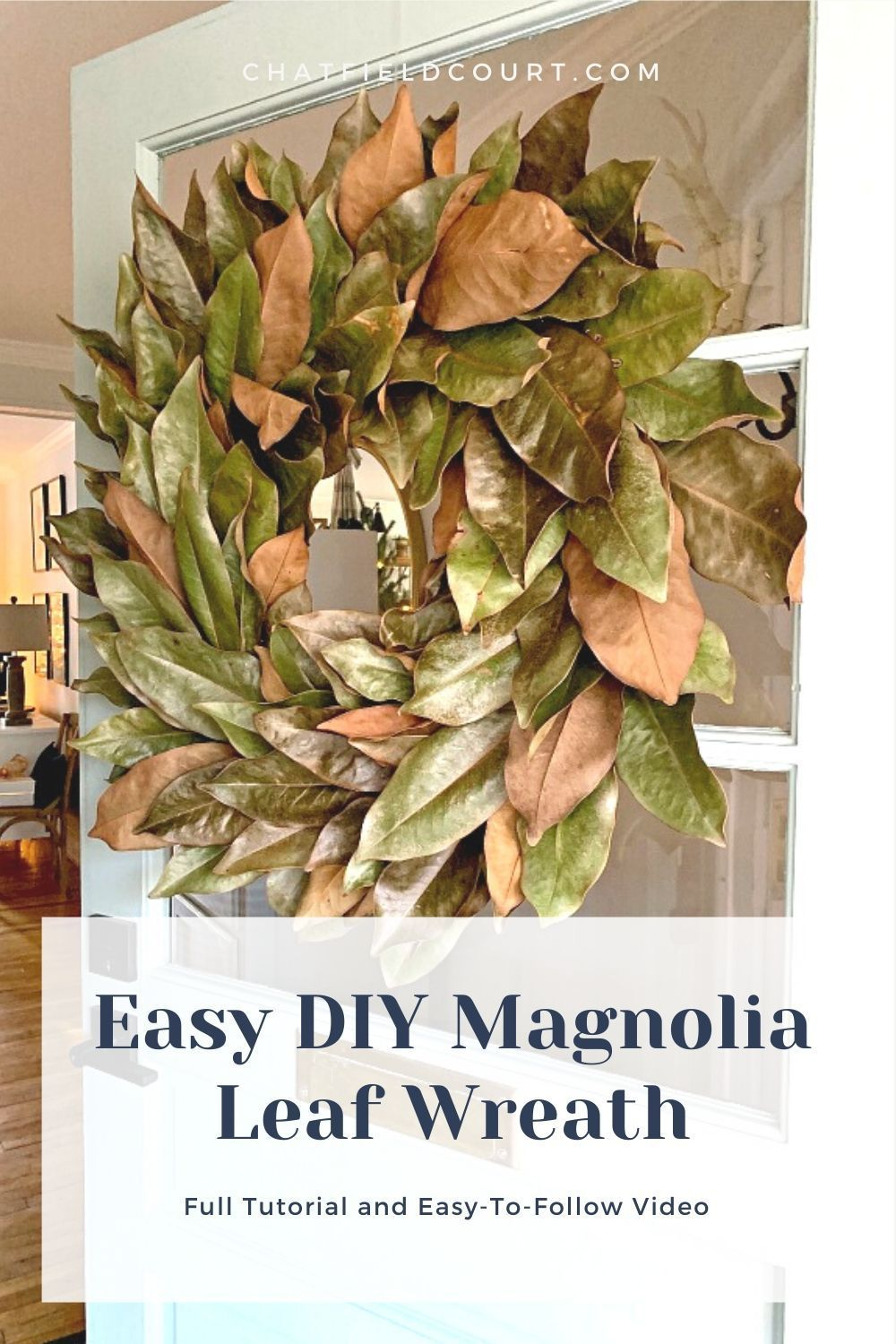 DIY Magnolia Leaf Wreath - How to make a DIY magnolia leaf wreath for your front door or as wedding decor. An easy and inexpensive craft with full tutorial and a video.