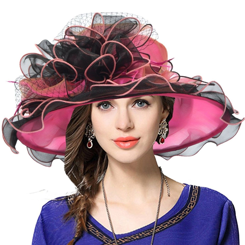 Women s Church Derby Dress Fascinator Bridal Cap British Tea Party Wedding  Hat - Two-tone-hot Pink - CO17XHO60Q2 - Hats   Caps 3f8a1484e86