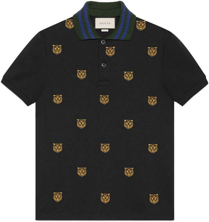 6cf6fd8b0048 Gucci Cotton polo with tiger head embroidery | Products in 2019 ...