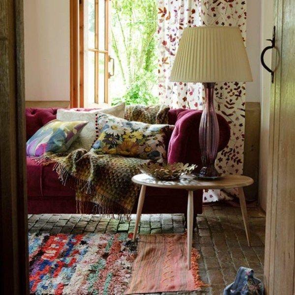 dunkelrosa farbe-shabby chic dekoration-romantisches wohnzimmer, Wohnzimmer dekoo