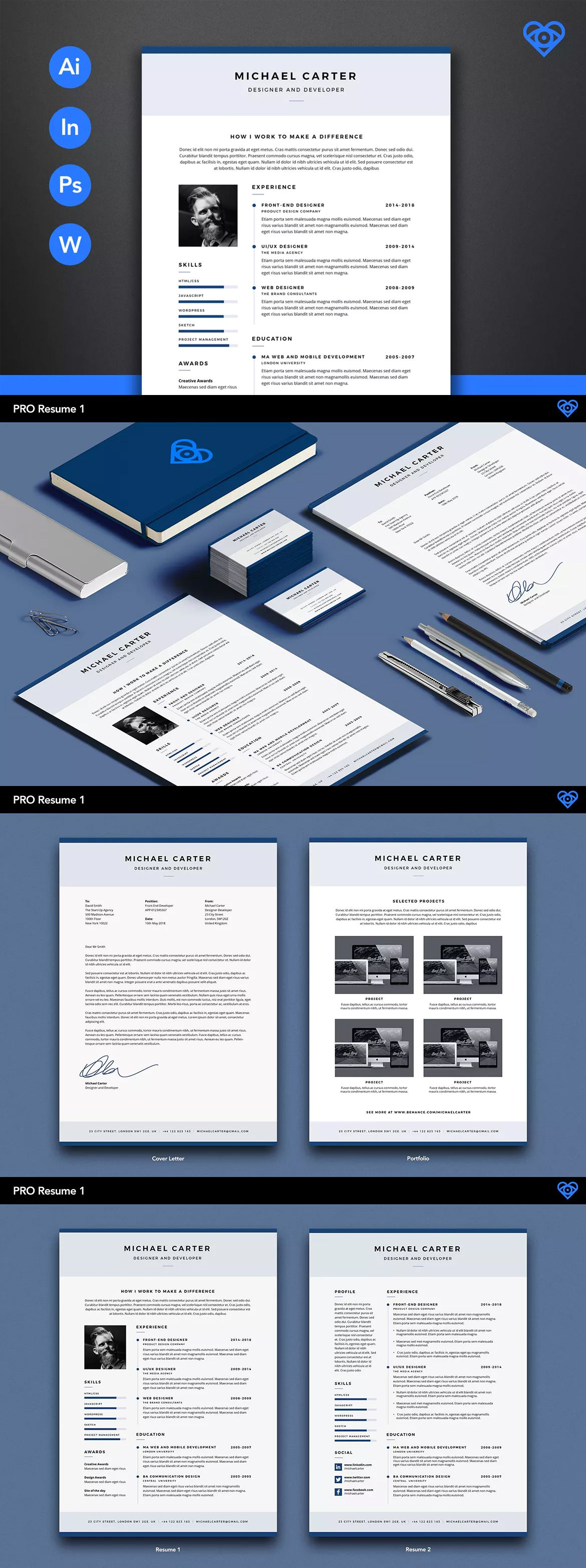 PRO Resume Template AI, INDD, EPS, PSD A4 and Us Letter