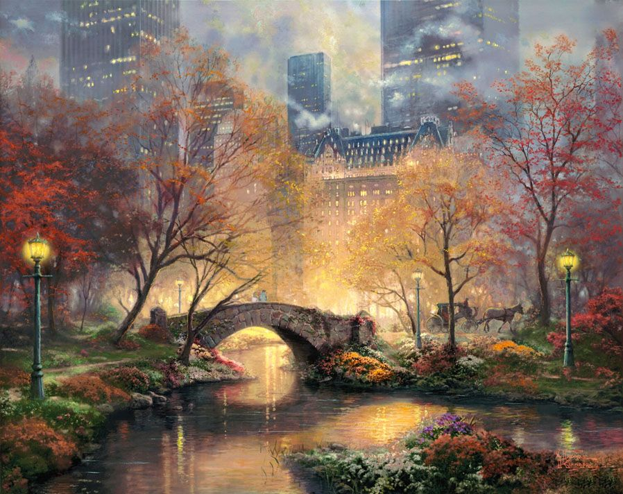 Thomas Kinkade Central Park in the Fall 14 x 14 Gallery Wrapped Canvas