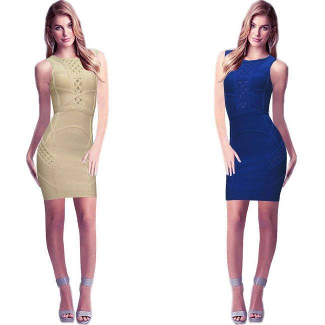 Woman Brand HL Dress Sexy Cut Backless Designed Night Club Party Short Evening Nude Bandage Dress