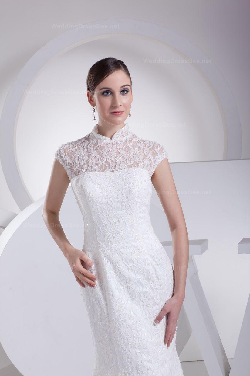 Elegant high neck lace over satin mermaid style wedding dress