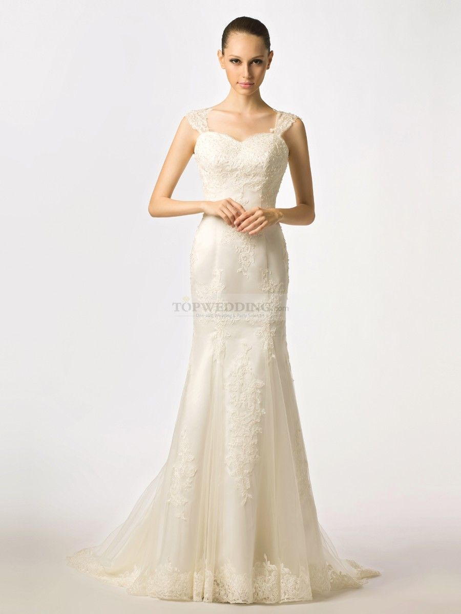 Rolline cap sleeved tulle over satin mermaid wedding dress with