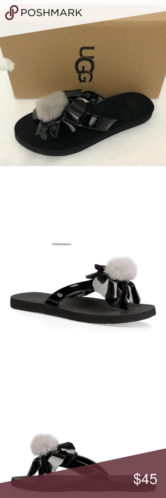 c2508df7f22 UGG Pom Pom Thong Sandals Flip Flop Black 8 M BRAND: UGG AUSTRALIA ...