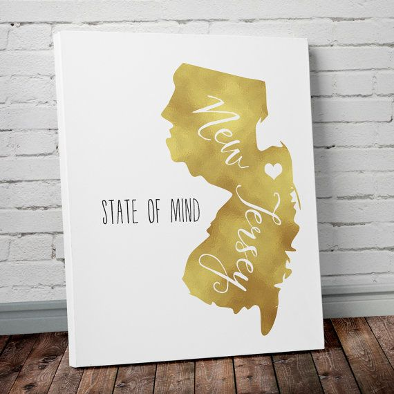 New Jersey State of Mind Gold Foil Wall Art - Canvas or Graphic ...