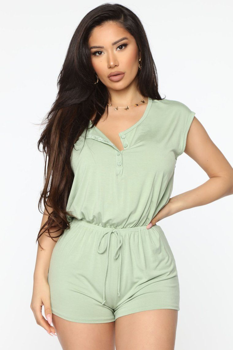 Photo of Knit Together Nights Henley Romper – Sage