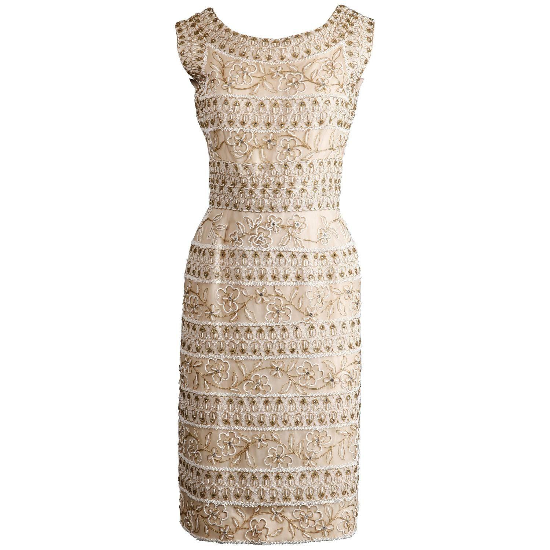 a6811b21fce 1960s Larry Aldrich Vintage Heavily Beaded Silk Dress with Lace +  Rhinestones