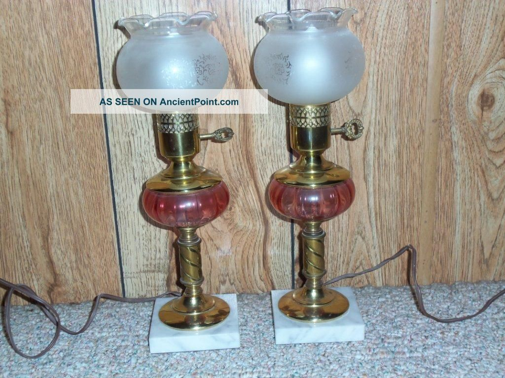 2 - Antique Cranberry Glass Boudoir Table Lamp W Marble Base & Frosted Glass Globe Lamps photo