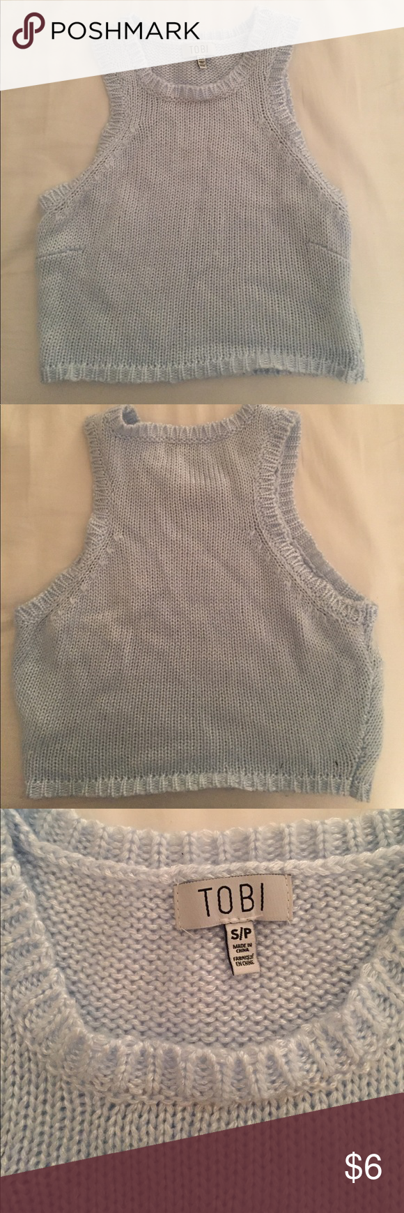 Tobi Knit Crop Top Light blue crop top featuring a sweater-style knit. Perfect summer top! Tobi Tops Crop Tops