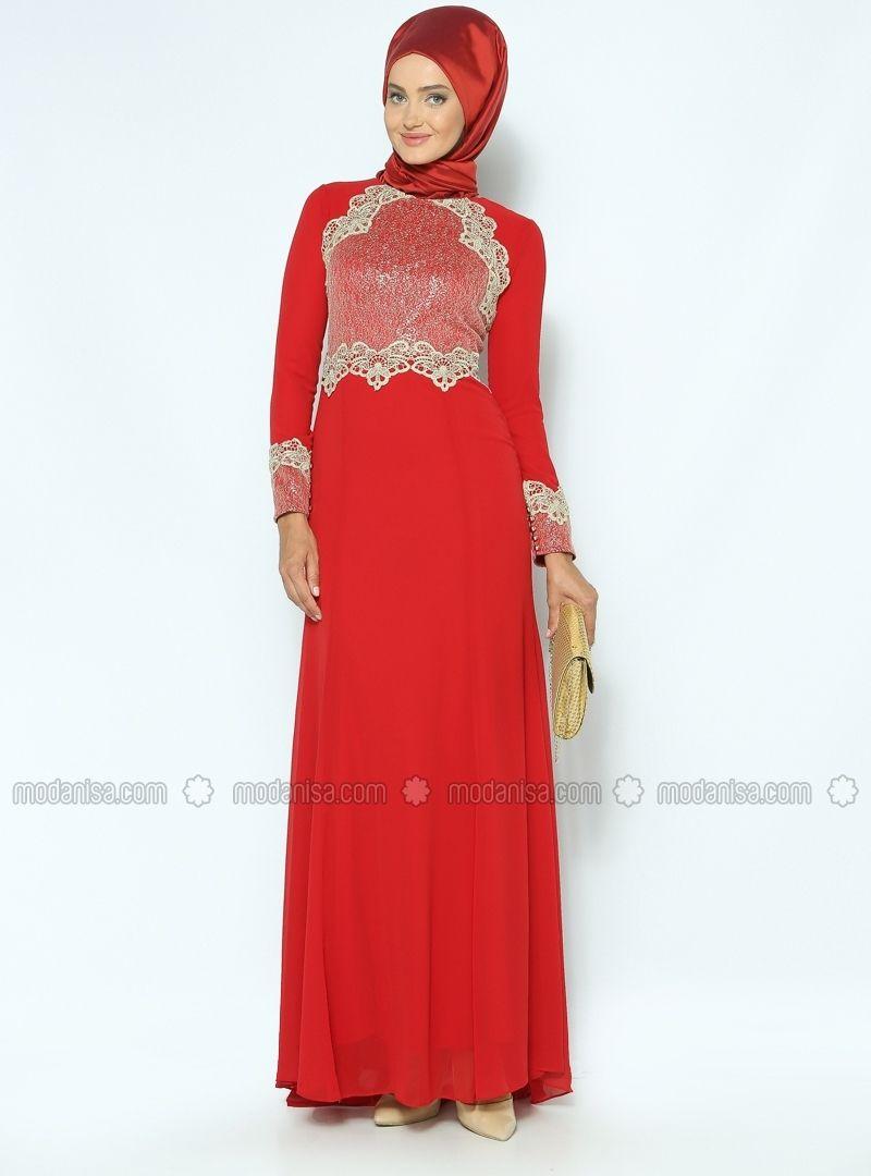 Dora decked evening dress red modaysa abaya u kaftans