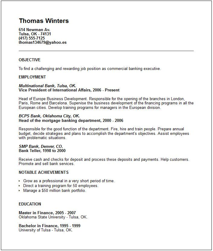 bank executive resume examples  top 10 resume objective