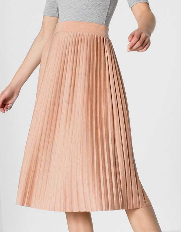 Pull Bear - mujer - ropa - faldas - falda plisada midi - rosa nude -  09399301-I2016 b34e1edb32b4