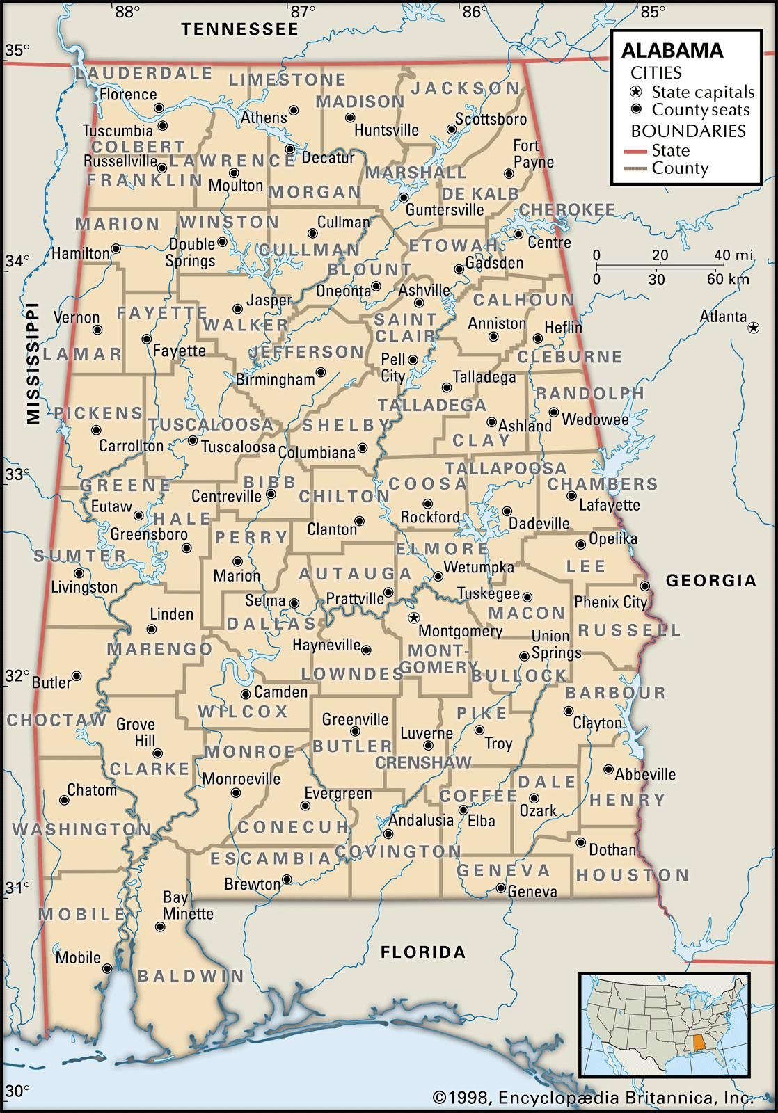 Map of Alabama county boundaries and county seats