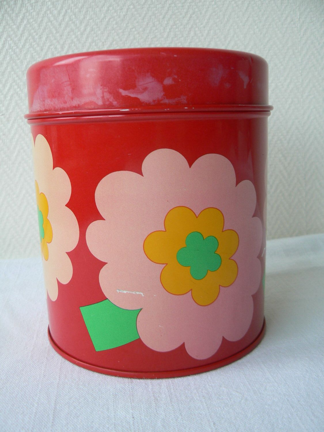 Laurids Lonborg Lena Al Eklund Metal Storage Canister Box Denmark Danish Design Red Flowers Kawai