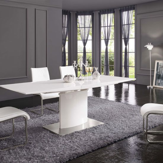 Clintock Extendable Dining Table In White Gloss With Chrome Base
