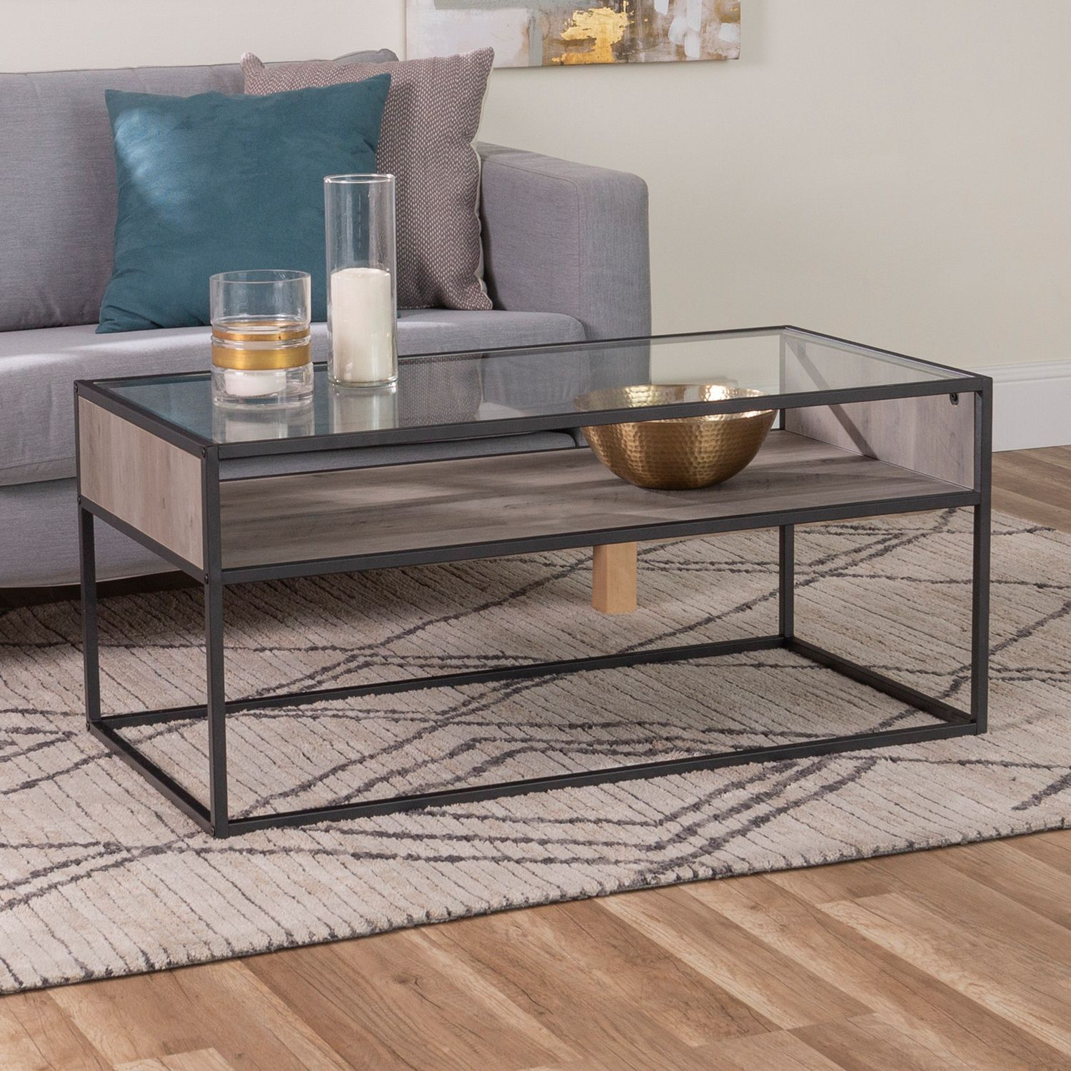 40 Gray Wash Metal Glass Coffee Table With Open Shelf Pier 1 Coffee Table Glass Coffee Table Round Glass Coffee Table [ 1500 x 1500 Pixel ]