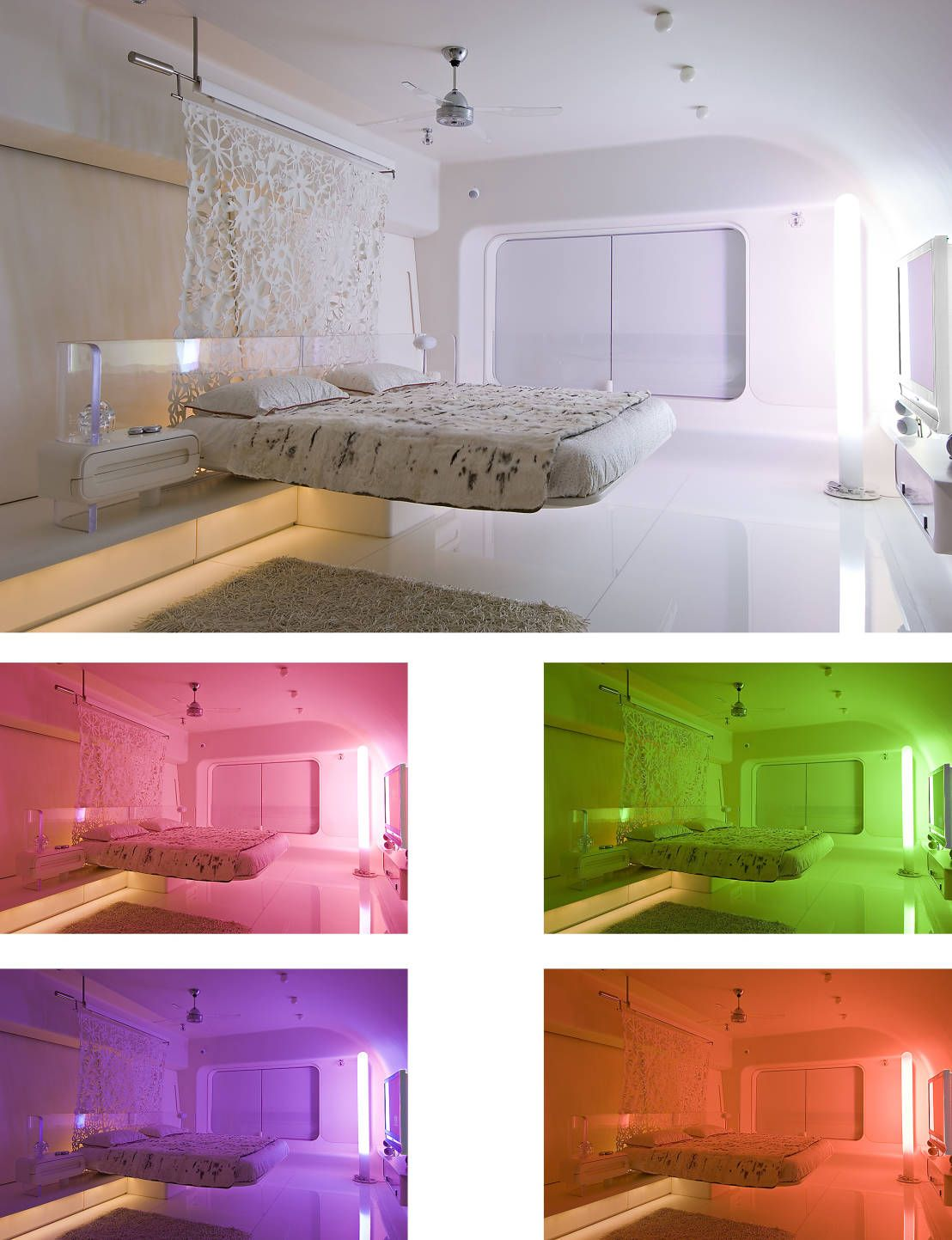 Colour therapy futuristic bedroom with floating bed by mybeautifulife also the smart house lighting rh cz pinterest