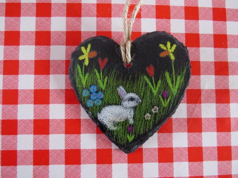 Bunny rabbit art on a slate heart wall hanging easter gift idea buy bunny rabbit art on a slate heart wall hanging easter gift idea support talented negle Image collections