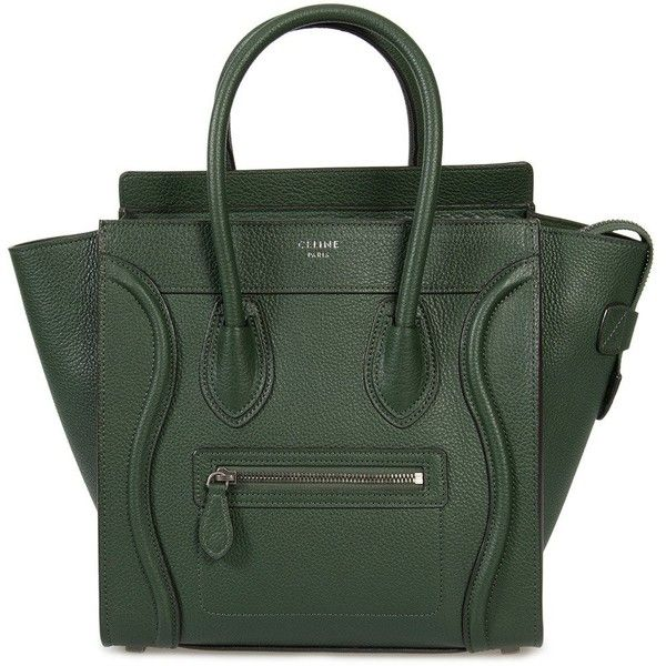 Celine Micro Luggage Tote Bag in Green Baby Drummed Calfskin Leather ($1,895) ❤ liked on Polyvore featuring bags, handbags, tote bags, green, new collections, celine tote bag, purse tote bag, pocket tote, celine purse and celine handbags