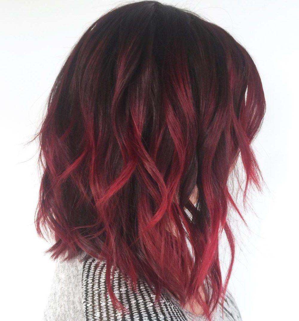 Burgundy Balayage On Dark Hair Short Hair Balayage Red Balayage Hair Red Ombre Hair