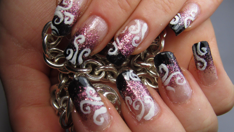 Glittery Black White And Pink Swirl Design Nail Art Tutorial Nail