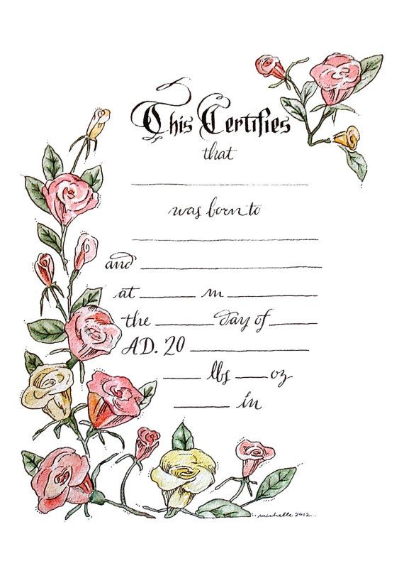 Baby Birth Certificate Template New Bespoke Calligraphy Baby Birth Certificatearteriole On Etsy .