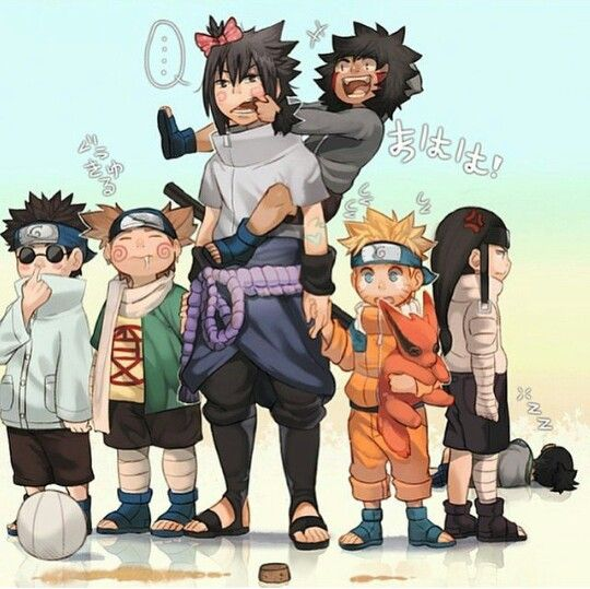 Sasuke Naruto Kiba Choji Neji And Shino Lol He Is Picking His Nose Naruto Cute Anime Naruto Naruto Funny