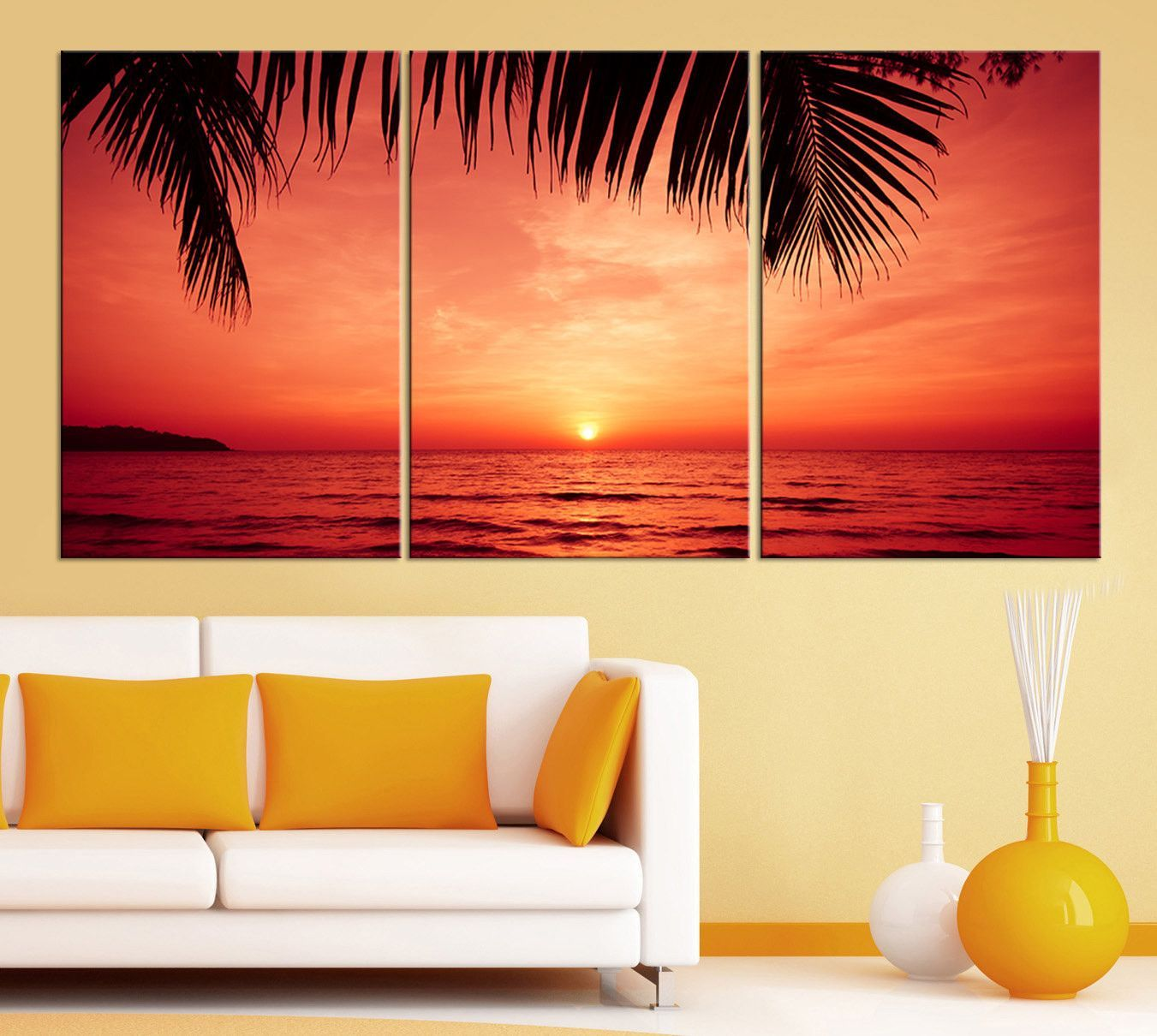 3 Piece Red Sunset and Palms Large Wall Art Canvas Print - X Large ...