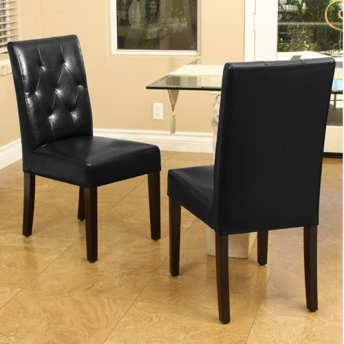 Comely Black Leather Dining Chairs Costco