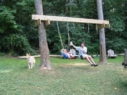 Hang A Porch Swing Between Two Trees Google Search Backyard Swings Backyard For Kids Tree Swing