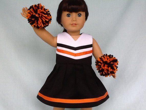 Black and Orange Cheerleader/Cheer Dress for American Girl/18 inch doll #18inchcheerleaderclothes