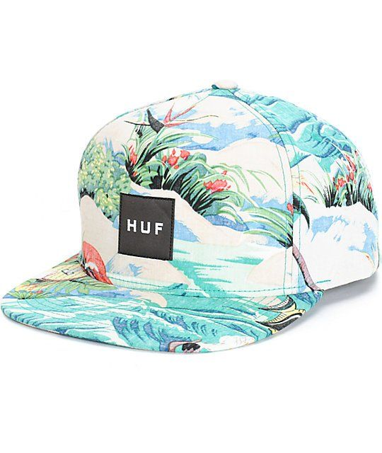 09fb4afcbbf Brighten your outfits with an all over blue tropical floral beach print and  an iconic HUF box logo patch on the front.