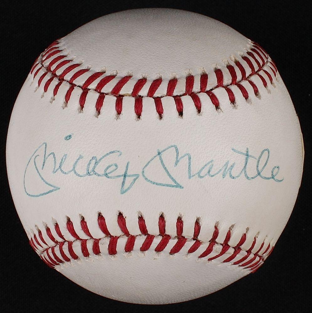 Mickey Mantle Signed Oal Baseball Psa Loa At Pristine Auction Mickey Mantle Yogi Berra Psa