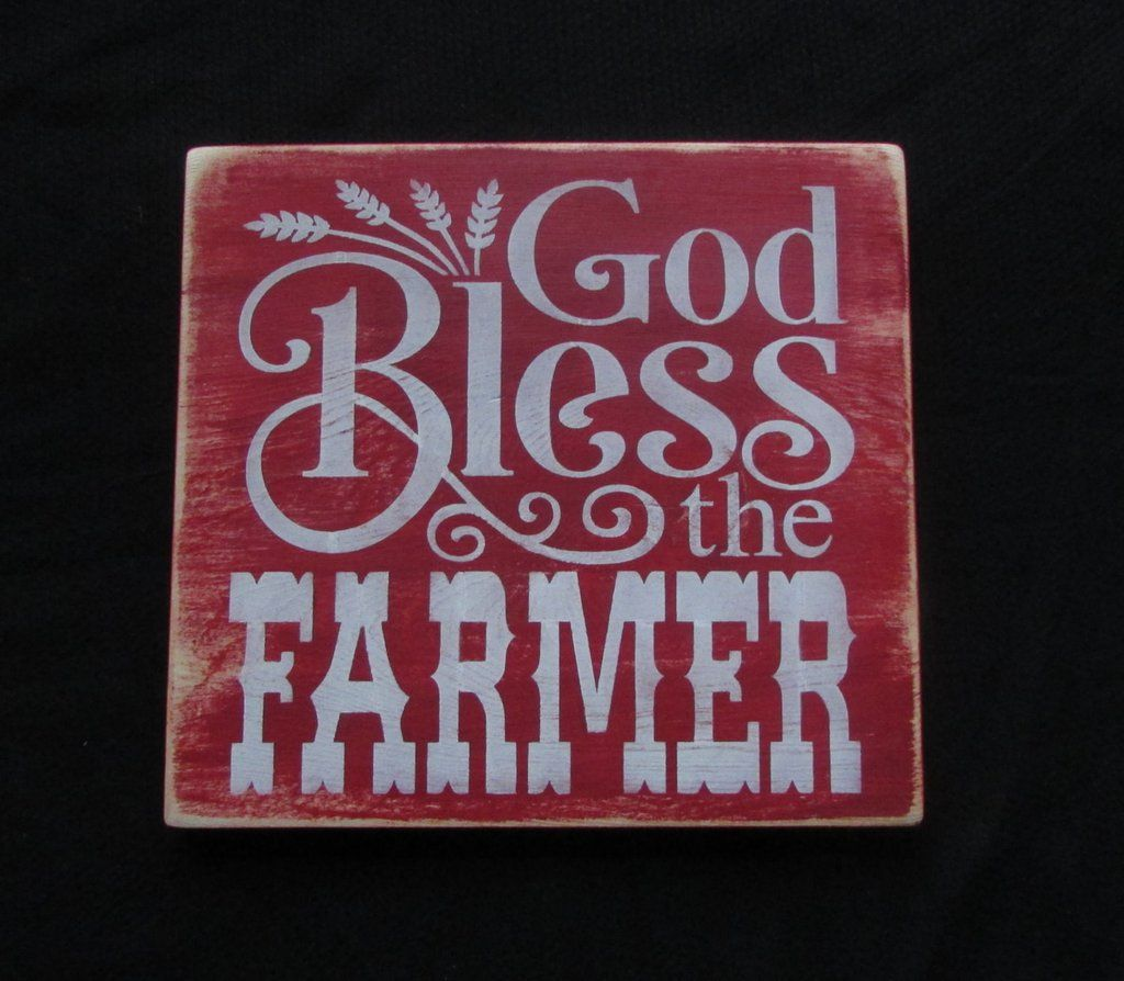 God Bless The Farmer Wood sign, primitive country decor, sign ...
