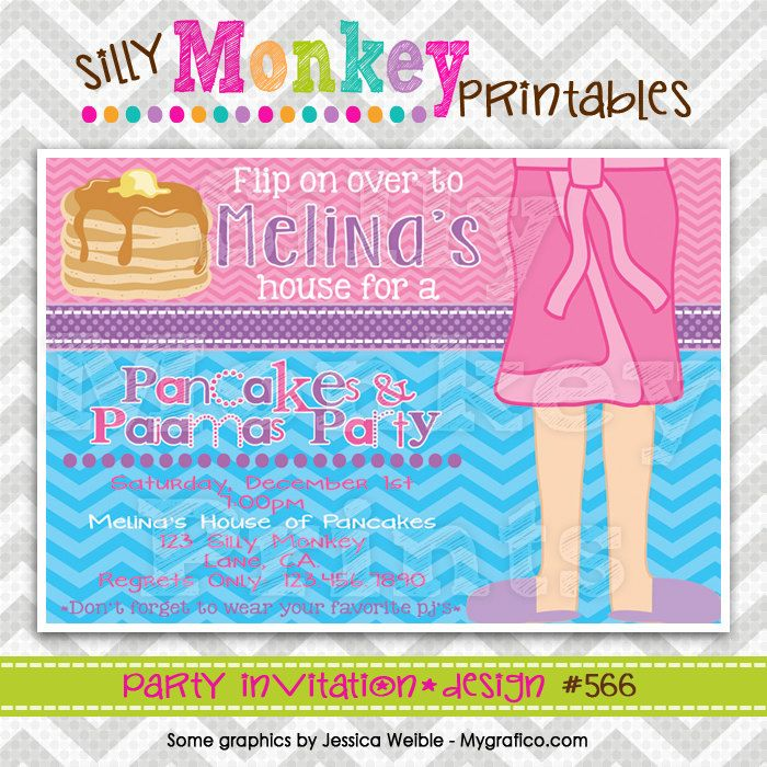 566: DIY - Pancakes and Pajamas 11 Party Invitation Or Thank You ...