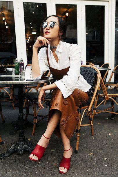 d4c743e51ba Skirt  brown tumblr leather top crop tops tube top matching set shirt white  shirt sandals sandal