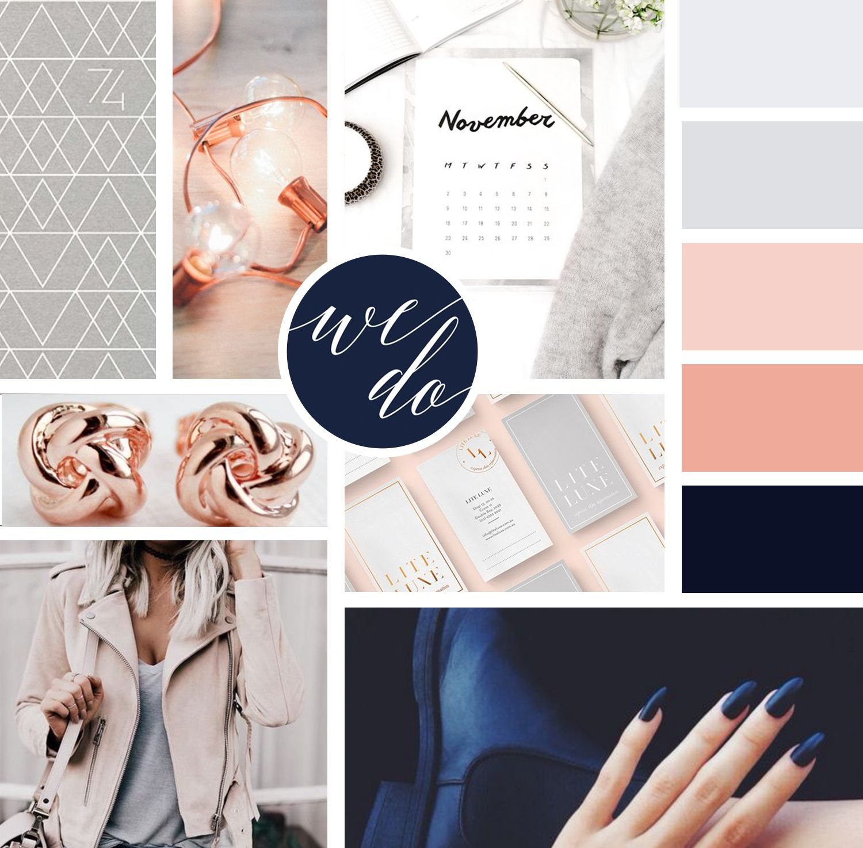 Mood Board Design For Branding Inspiration Includes Navy Rose Gold And Grey Color Palette For A Mood Board Design Blue Color Schemes Rose Gold Color Palette