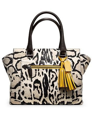COACH Legacy Ocelot Haircalf Medium Candace Carryall | Bloomingdale's