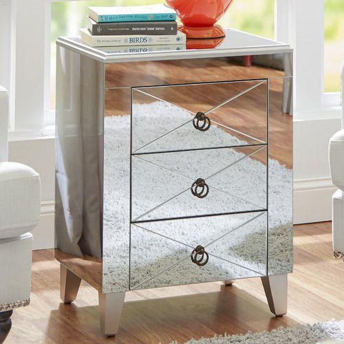 Found it at Wayfair - Almandine Mirrored 3 Drawer Side Table