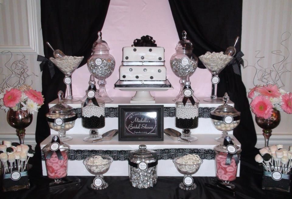 Bridal Shower Candy Table Black Pink And White Bridal Shower Candy Bridal Shower Candy Table Tea Party Bridal Shower