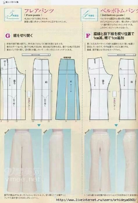 plusueurs modeles de pantalons avec patrons(livre russ   Puntadas ...