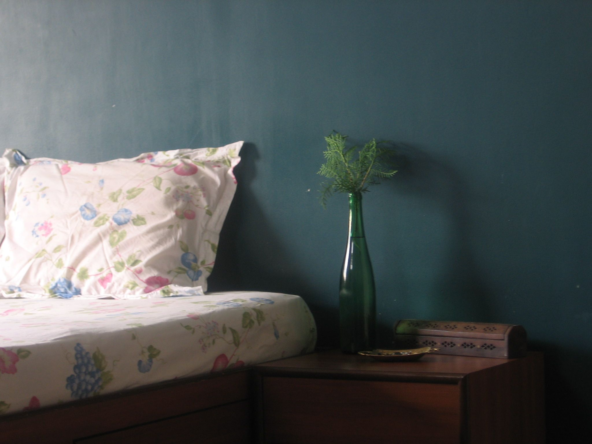 my home-my haven -I miss my bedroom teal wall