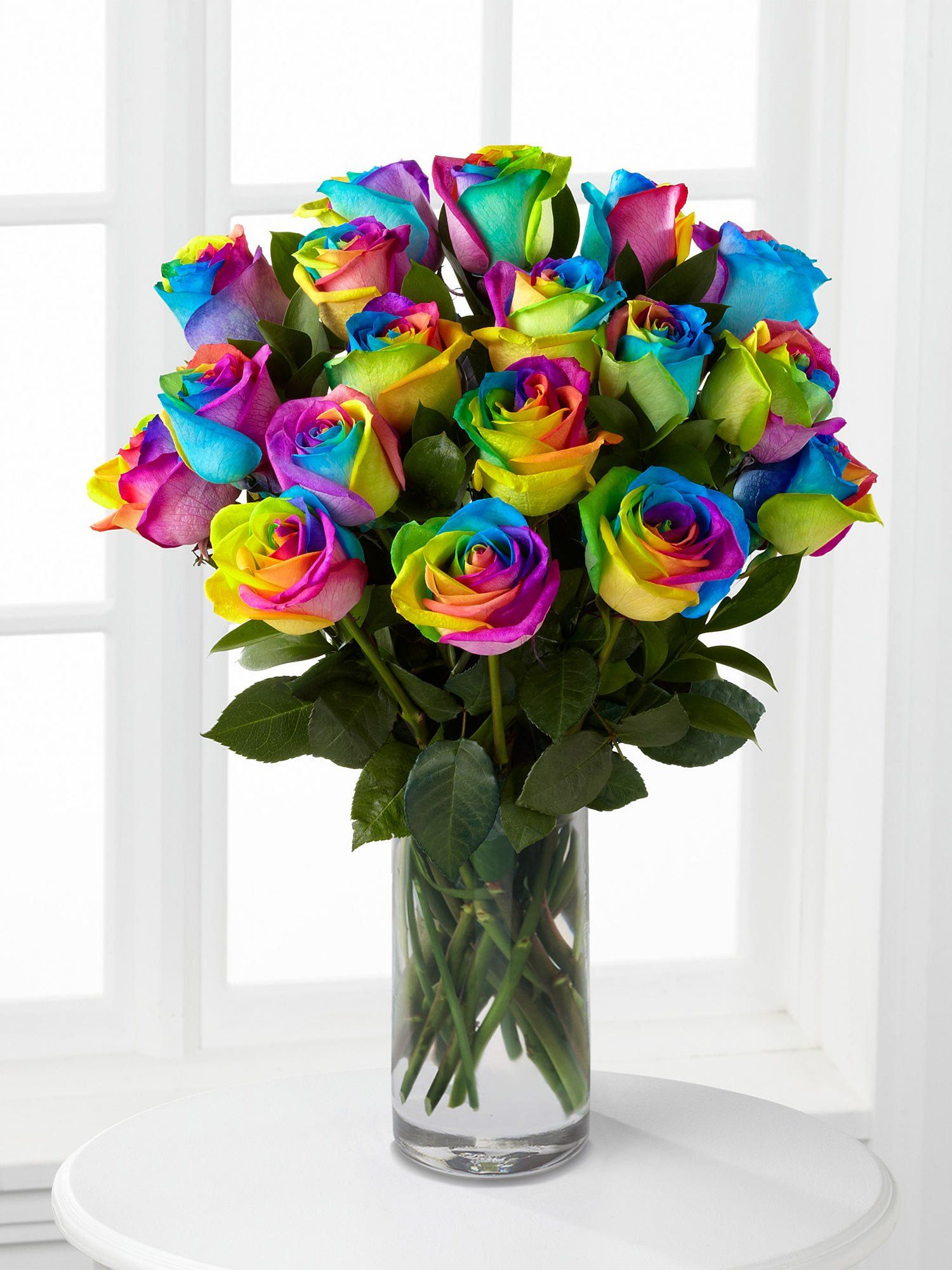 Rainbow Roses Vase - Interflora - Every woman deserves flowers like these at some point in her life... #rainbowroses