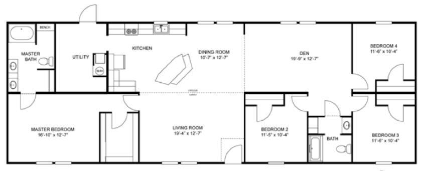 Floorplan For The Kennesaw Model 28764ah13 Metal House Plans Modular Home Plans House Floor Plans