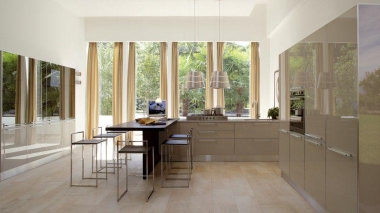 muebles de color beige brillante en la cocina moderna   cocinas ...