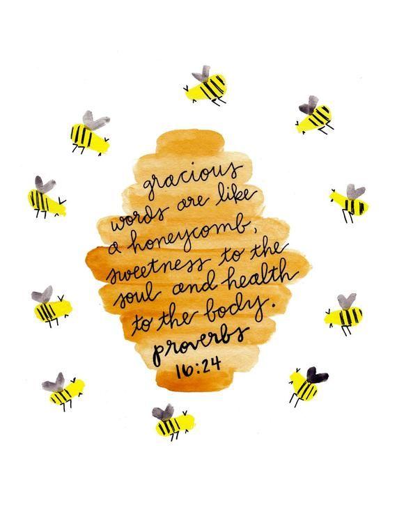 Watercolor Bee Wall Art Print Painting, Bible Verse Scripture, Honeycomb Bee Nursery Home Decor, Honey Bee Gifts, Proverbs 16:24, 8x10